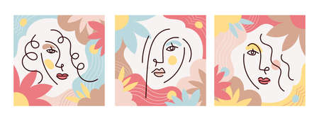 Girl Face Simply Line Drawing Set, Floral and Soft Color Background 矢量图像