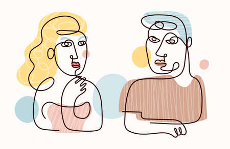 Couple Single Line Contour Drawing, Portrait, Man and Woman with Color Background 矢量图像