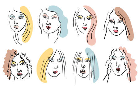 Girl Face Brush Line Drawing Sketch, Different and Various Ethnicity, Beauty and Fashion 矢量图像