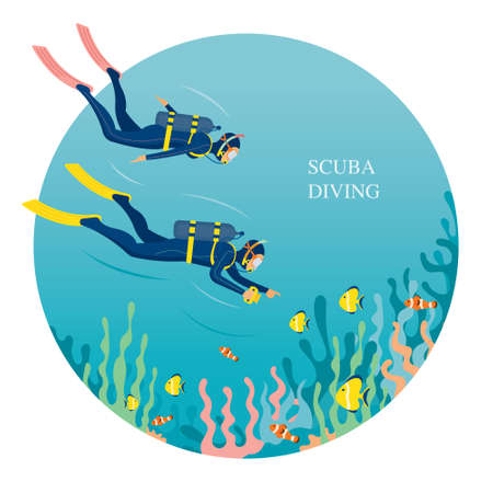 Couple Scuba Diving in Underwater, Travel, Summer Vacation and Activities 矢量图像
