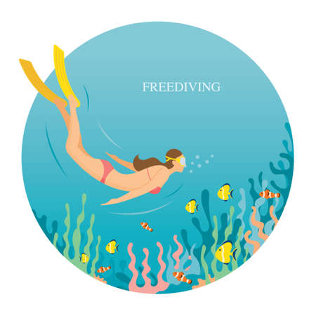 Girl in Swimsuit Freediving Underwater, Travel, Summer Vacation and Activities