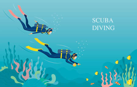 Couple Scuba Diving in Underwater Background, Travel, Summer Vacation and Activities 矢量图像