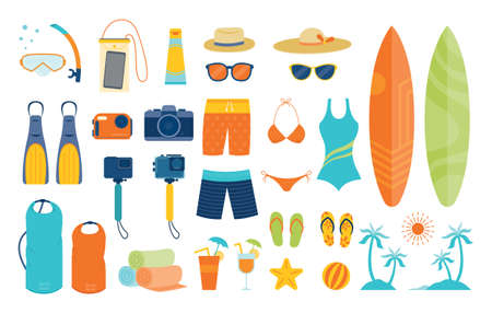 Summer Objects and Equipments Set, Travel, Vacation and Activities