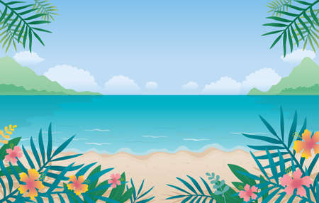 Summer Beach, Sea or Ocean Background, Coconut Leaves and Hibiscus Foreground, Travel Vacation and Activities 矢量图像