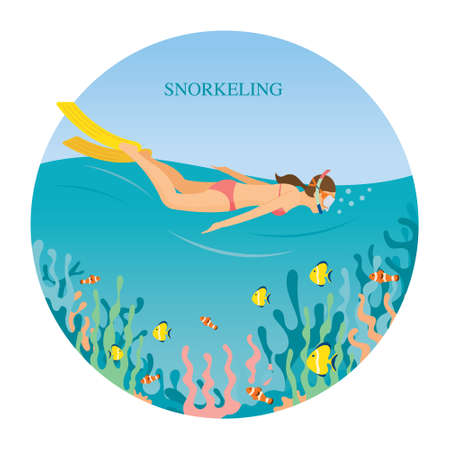 Girl in Swimsuit Snorkeling in the sea, Travel, Summer Vacation and Activities