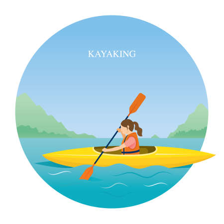 Girl in Life Jacket Kayaking in the Sea or River, Travel, Summer Vacation and Activities
