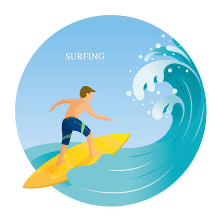 Man surfing in the Sea with Big Waves, Travel, Summer Vacation and Activities