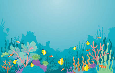 Underwater, Coral Reef, Sea Anemone and Fish Background, Travel, Summer Vacation and Activities 矢量图像