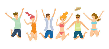 Group of People wearing Summer Clothes Jumping, Travel, Summer Vacation and Activities