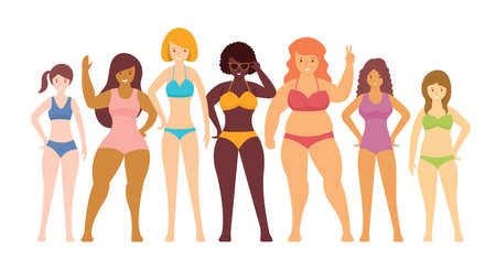 Woman in Swimsuits Various Type of Body Shape