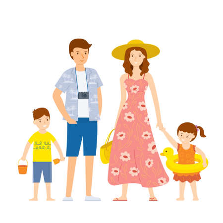 Family Prepare for Travel Summer with Equipments for the Beach Activities Illusztráció