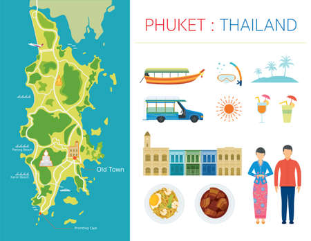 Phuket Map and Tourist Attraction Objects, Peranakan Culture, Food, Architecture and People