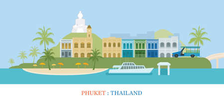 Phuket Island Thailand Landmarks Background, Old Town, Travel and Tourist Attraction