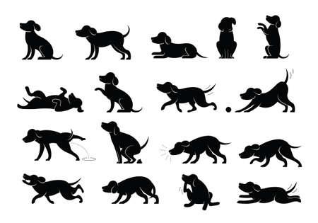 Dog Behavior Silhouette Set, Various Action and Posture, Body Language