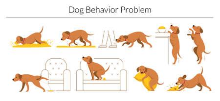 Dog Behavior Problem Set, Digging, Destroying, Biting, Jumping, Pee and Poop Ilustração