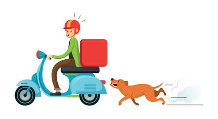 Dog chasing Man Ridding on Motorcycle or Scooter, Delivery Man, Postman