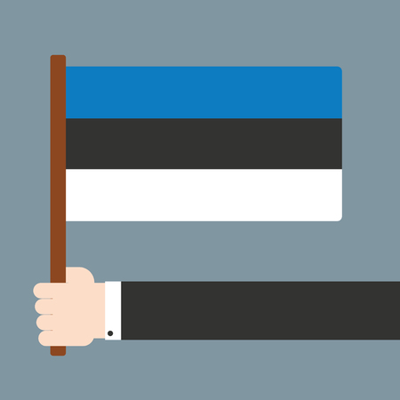 estonia: Hand with flag Estonia Illustration