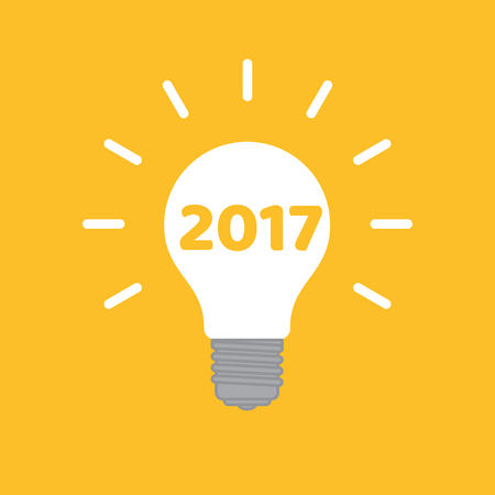 A creative bulb with text 2017.