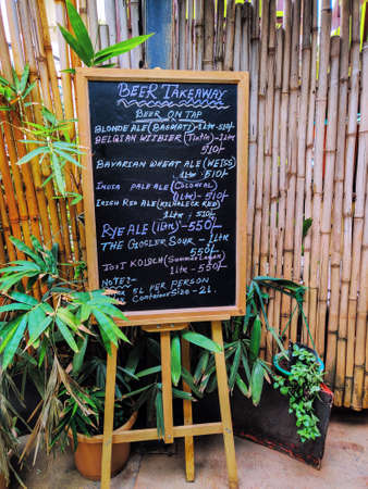 Beer Takeaway Board at Toit Brew Pub Bangalore after the relaxation of national lockdown for businesses. takeaways are allowed at pubs and restaurants were customers are needed to maintain social distancing.Unlock 1.