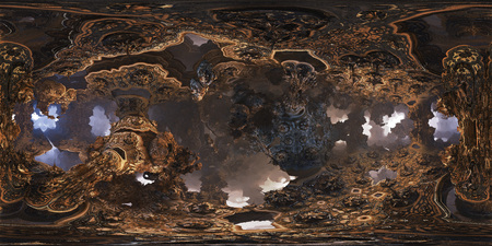 Futuristic 360 panorama with fractal environment for 3D or VR with fog on the horizon. 360 metadata injected. Equirectangular projection.