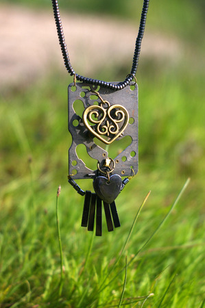 Necklace on the green fresh grass background Banco de Imagens