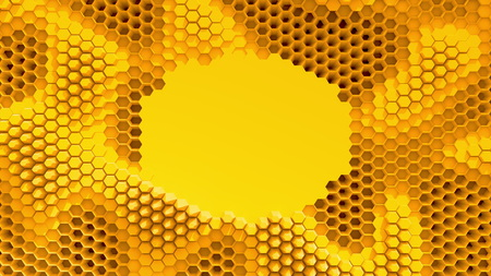 Abstract orange crystallized background. Honeycombs move like an ocean. With place for text or logo.