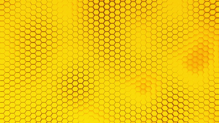 Beautiful yellow hexagrid background with waves. Banco de Imagens