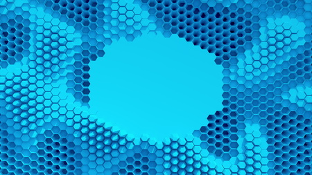 Abstract blue crystallized background. Honeycombs move like an ocean. With place for text or logo.