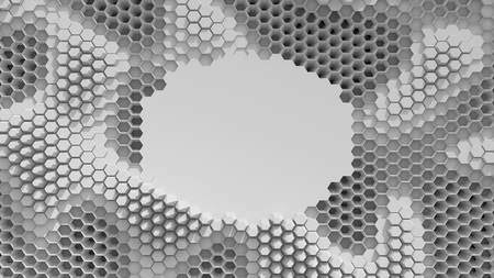 Abstract black and white crystallized background. Honeycombs move like an ocean. With place for text or logo.