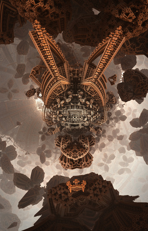 Abstract fantastic poster or background. Futuristic view from inside of the fractal. Architectural pattern.