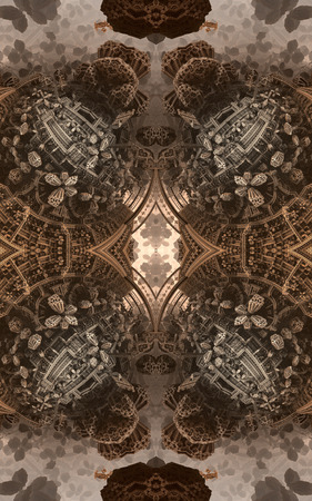 Abstract fantastic poster or background. View from inside of the fractal. Architectural patterns Banco de Imagens