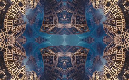 Epic abstract fantastic poster or background. Futuristic view from inside of the fractal. Pattern in form of arrows
