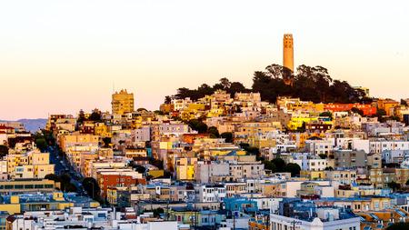 Coit tower san francisco landscape at dusk Editorial