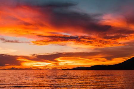sunset on the sea, golden hour on the sea. Twilight sunset 版權商用圖片