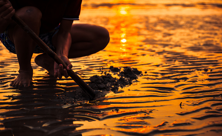 Hands dig sand and mud for find sea shell at sunset in summer. 写真素材 - 122677808