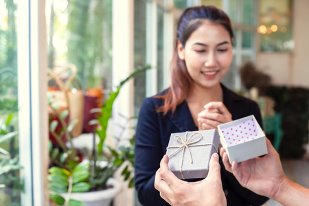 A women happy  with gift box. 写真素材 - 122677842