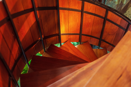 Detail of the wood spiral staircase.