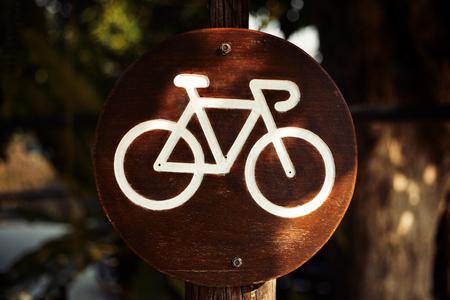 bike label on wood board at parks.