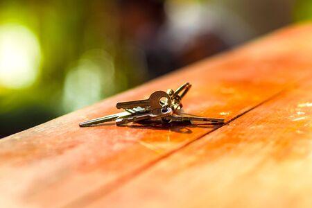 The keys on vintage wood table 写真素材