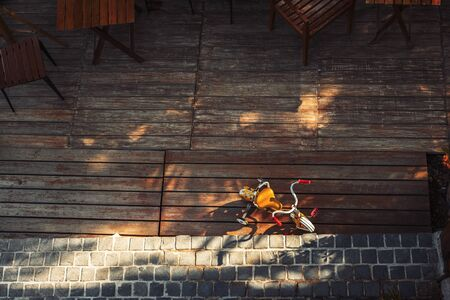 top view child bicycle  on the wood floor