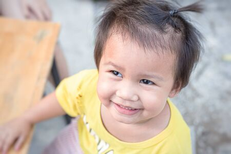 Portrait of a sweet baby girl. Baby girl smile and happy. 写真素材