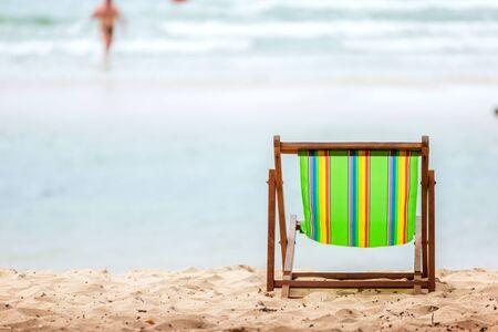 beach chair on the beach near the sea water.