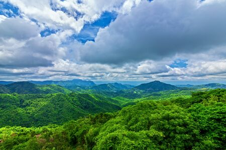 Green mountain and beautiful blue sky with cloud. Landscape background.