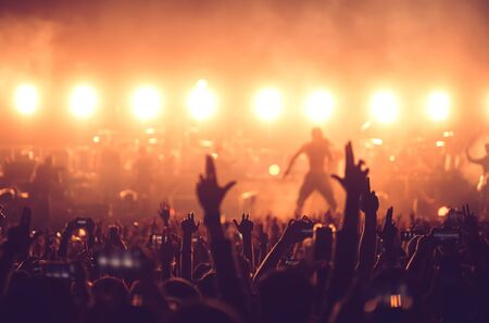Hands use mobile phone for take a photo and video record at night music festival.