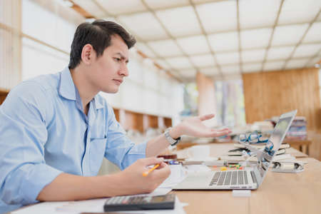 Business accounting confused, understand, unclear, disagree or problem working with cusstomer between video conference in office.