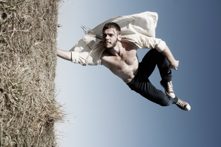 Young man jumping. Art. Stock Photo