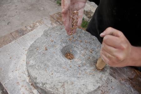Old millstone. Medieval Flour.