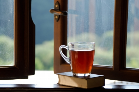 Cup of tea and book on window sill.