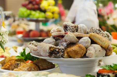 Many servings of sweet tasty dessert on buffet. Stock Photo