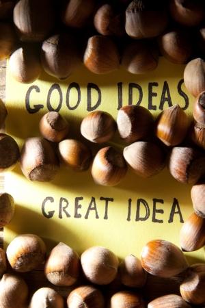 oncept: Сoncept good ideas. Iinscription great idea idea and nuts.